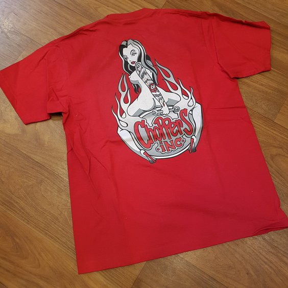 CHOPPERS INK TEE - FLAIM GIRL RED