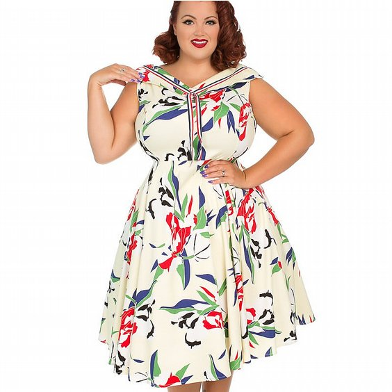 H&R LONDON KLÄNNING - HEAPS OF LEAVES SAILER +PLUSSIZE