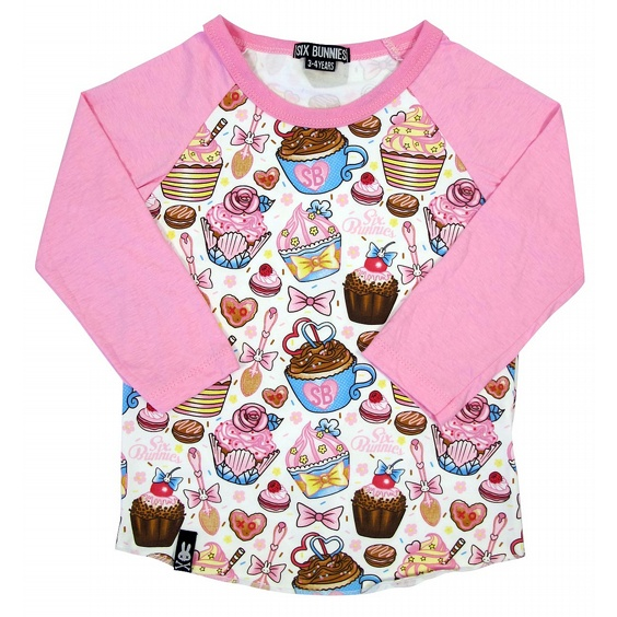 SIX BUNNIES BASEBALL TEE - CUPCAKES 3