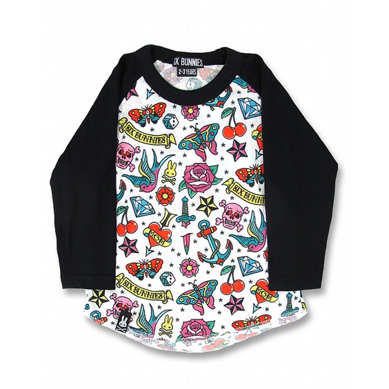 SIX BUNNIES BASEBALL TEE - CUTE FLASH