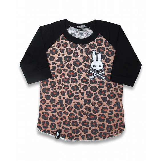 SIX BUNNIES BASEBALL TEE - LEOPARD TAN