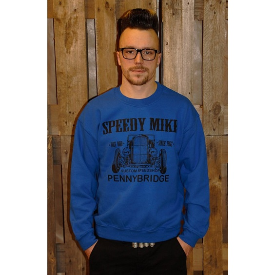 SPEEDY MIKE CREWNECK - FRONT BLÅ