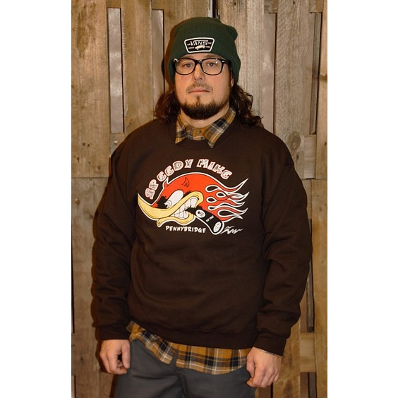 SPEEDY MIKE CREWNECK - HACKE BRUN