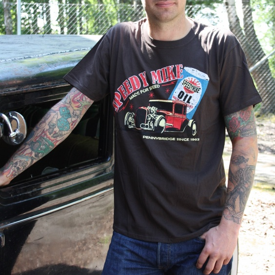 SPEEDY MIKE T-SHIRT - HOTROD OIL BRUN