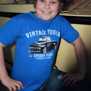 SPEEDY MIKE T-SHIRT BARN VINTAGE TRUCK BLÅ