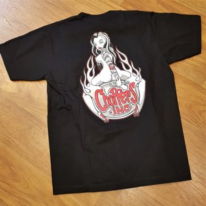 CHOPPERS INK TEE - FLAIM GIRL BLACK BACK