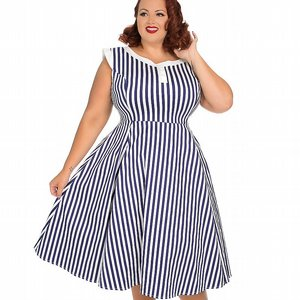 H&R LONDON KLÄNNING - BLUE STRIPE HEPBURN +PLUSSIZE