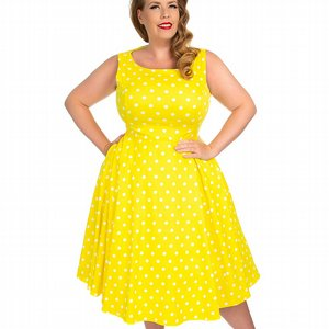 H&R LONDON KLÄNNING - CINDY POLKA DOT SWING +PLUSSIZE