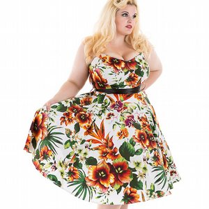 H&R LONDON KLÄNNING - PRINCESS LILY ORANGE +PLUSSIZE