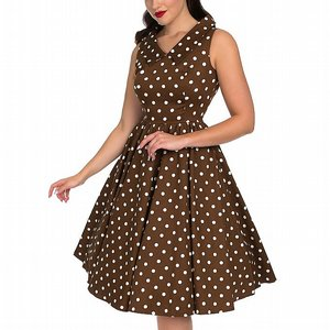 H&R LONDON KLÄNNING -  RAVISHING CHOCOLATE POLKA DOT BRUN