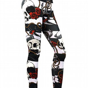 LIQOURBRAND LEGGINGS - STRIP SKULL