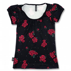 LIQOURBRAND PUFFÄRMS TOPP - ROSES RED