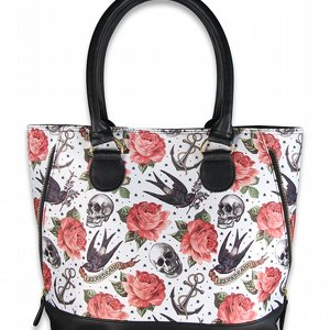 LIQOURBRAND SHOPPINGVÄSKA - ROSE TATTOO WHITE