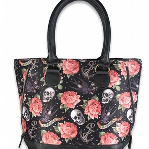 LIQOURBRAND SHOPPINGVÄSKA - ROSE TATTOO BLACK