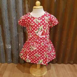 LITTLE FAIRY KIDS DRESS - MARY BOW PRICKIG RED