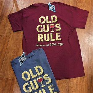 OLD GUYS RULE T-SHIRT - IMPROVED WITH AGE MAROON