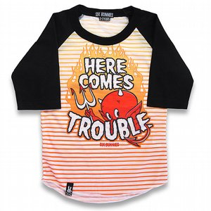 SIX BUNNIES BASEBALL TEE -  HERE COMES TROUBLE