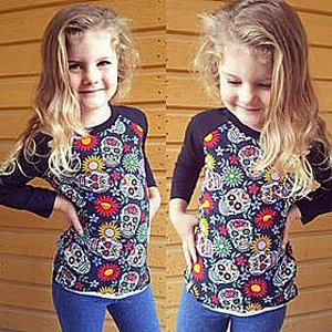 SIX BUNNIES BASEBALL TEE - SUGAR SKULLS