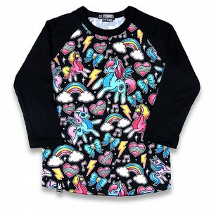 SIX BUNNIES BASEBALL TEE - UNICORNS BLACK