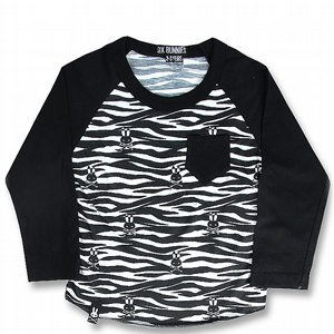 SIX BUNNIES BASEBALL TEE - ZEBRA