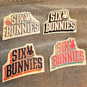 SIX BUNNIES STICKER - LOGO TEXT