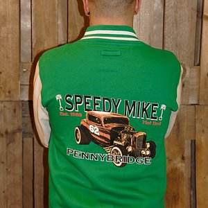 SPEEDY MIKE COLLEGE JACKA - ORANGE ROD GRÖN/VIT