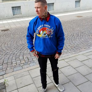SPEEDY MIKE CREWNECK - HACKE BLÅ