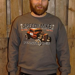 SPEEDY MIKE CREWNECK - ORANGE ROD GRÅ