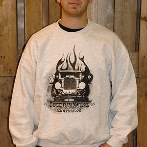 SPEEDY MIKE CREWNECK - FLAMES LJUS GRÅ