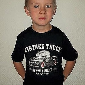 SPEEDY MIKE T-SHIRT BARN VINTAGE TRUCK SVART