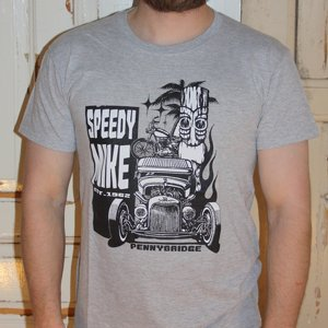 SPEEDY MIKE T-SHIRT - TIKI LJUS GRÅ
