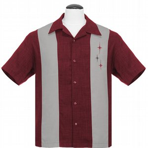 STEADY CLOTHING SKJORTA - 3 STARS PANEL BURGUNDY