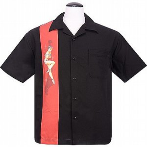 STEADY CLOTHING SKJORTA - SINGLE PINUP BLACK/RED