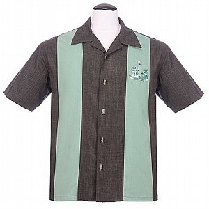 STEADY CLOTHING SKJORTA - THE MICKEY CHARCOAL/SEA GREEN