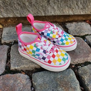 VANS BARN SKO - AUTHENTIC RAINBOW CHECKER