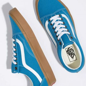 VANS SKOR - OLD SKOOL (GUM) MEDTERRIAN BLUE/WHITE