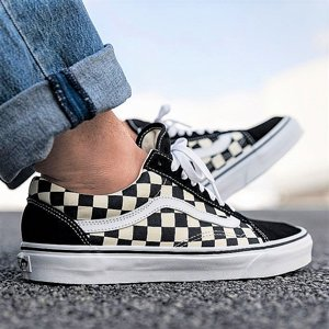 VANS SKOR - OLD SKOOL PRIMARY CECK BLACK/WHITE