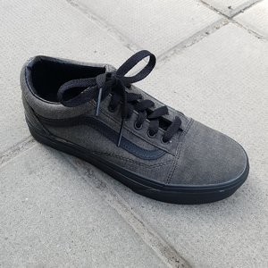 VANS SKOR - OLD SKOOL WASHED BLACK/BLACK