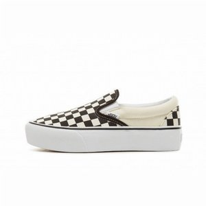 VANS SKOR - PLATFORM CLASSIC SLIP-ON CHECKER BLACK/WHITE